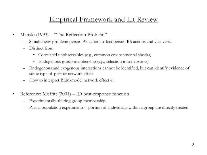 Empirical Framework and Lit Review