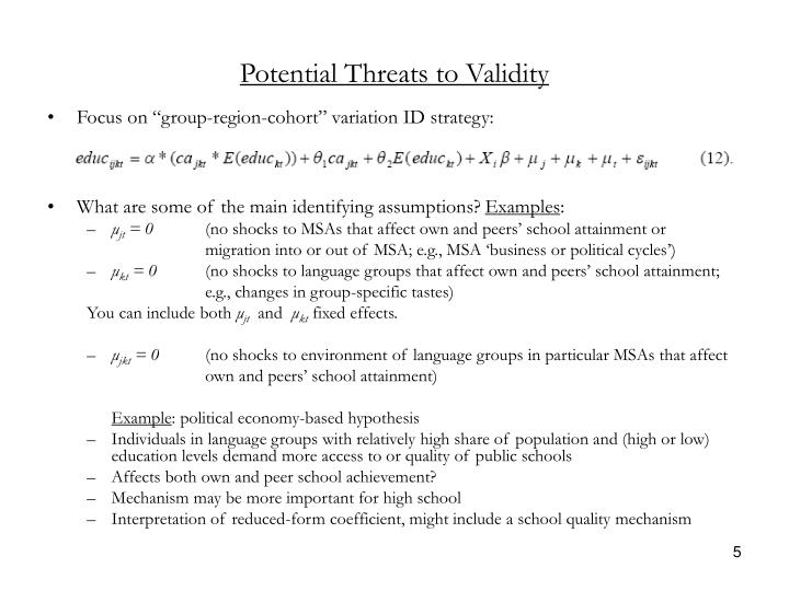 Potential Threats to Validity
