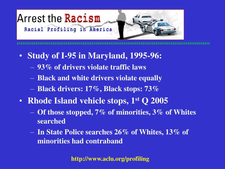 Study of I-95 in Maryland, 1995-96: