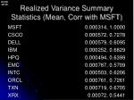 realized variance summary statistics mean corr with msft