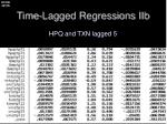 time lagged regressions iib2