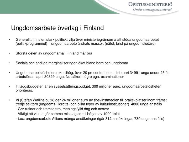 Ungdomsarbete överlag i Finland