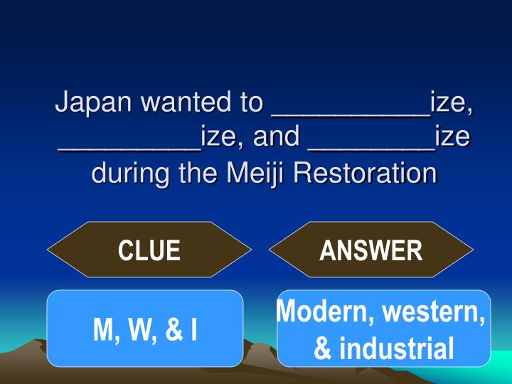 Japan wanted to __________ize, _________ize, and ________ize during the Meiji Restoration