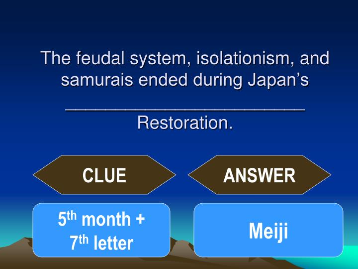 The feudal system, isolationism, and samurais ended during Japan's ________________________ Restoration.