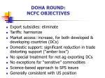 doha round ncfc objectives