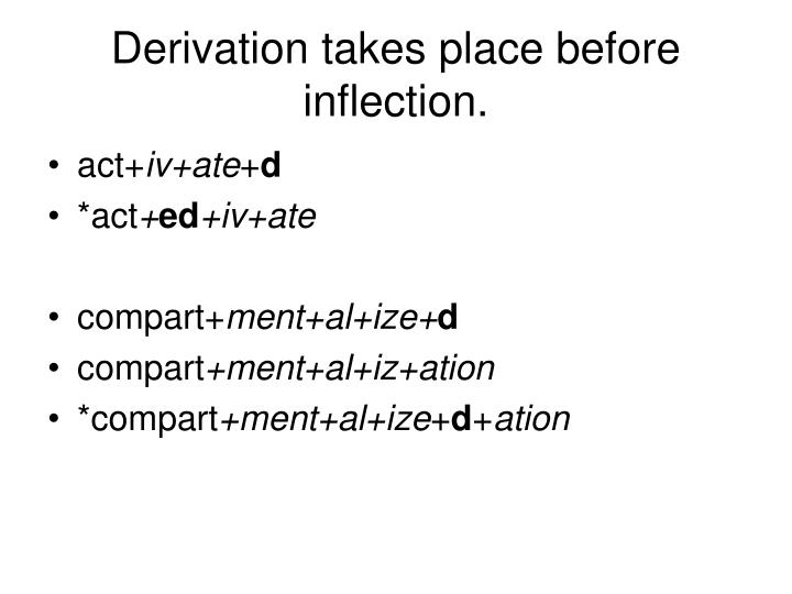 Derivation takes place before inflection.
