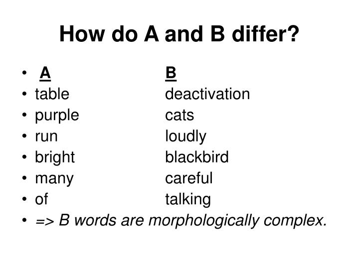How do A and B differ?