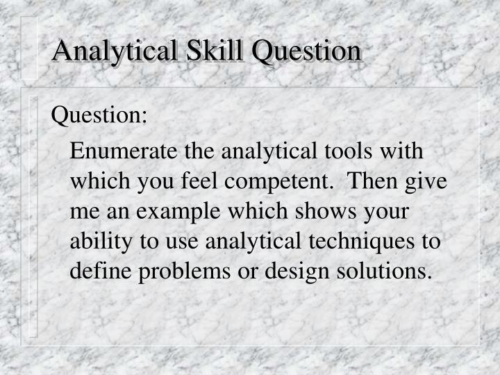 Analytical Skill Question