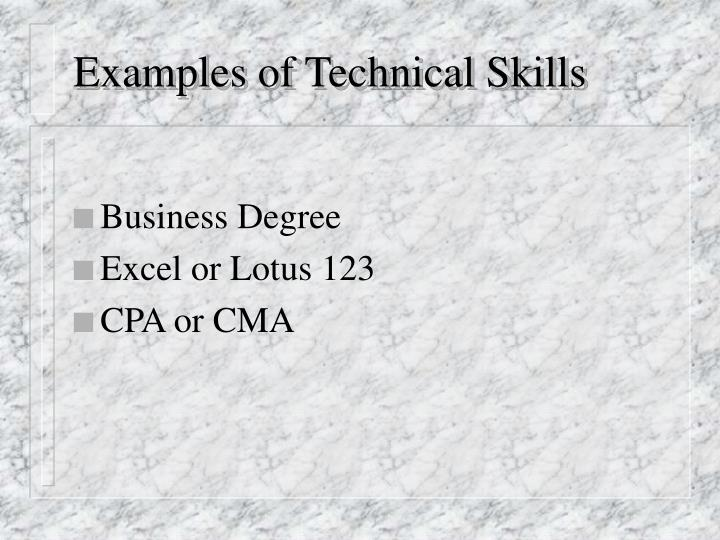 Examples of Technical Skills
