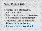 select critical skills2