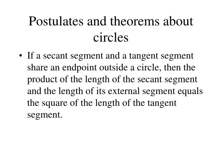 Postulates and theorems about circles