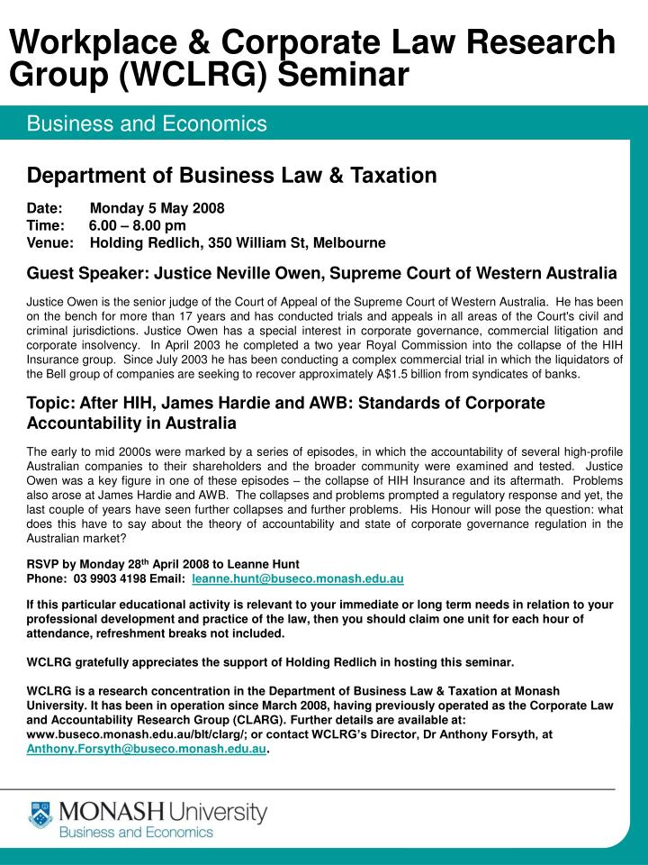 Workplace & Corporate Law Research Group (WCLRG) Seminar