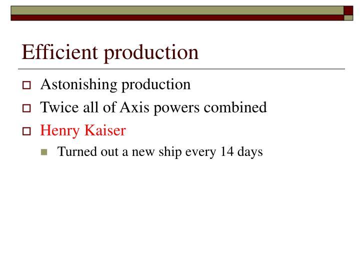 Efficient production
