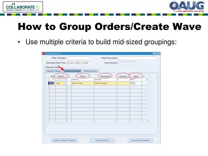 How to Group Orders/Create Wave