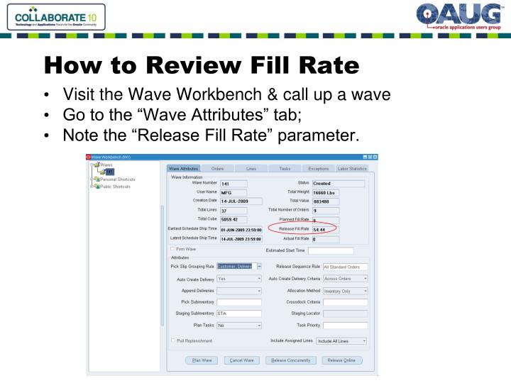 How to Review Fill Rate