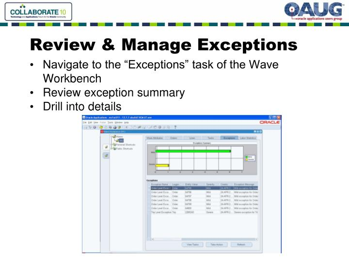 Review & Manage Exceptions