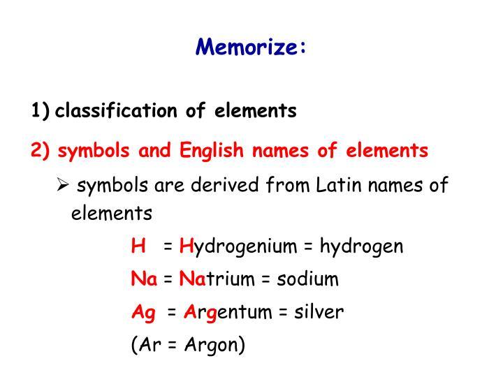 Memorize:
