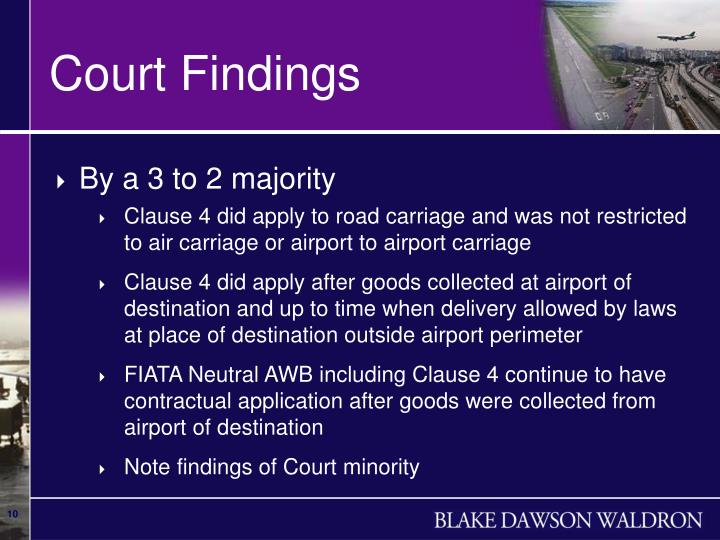 Court Findings