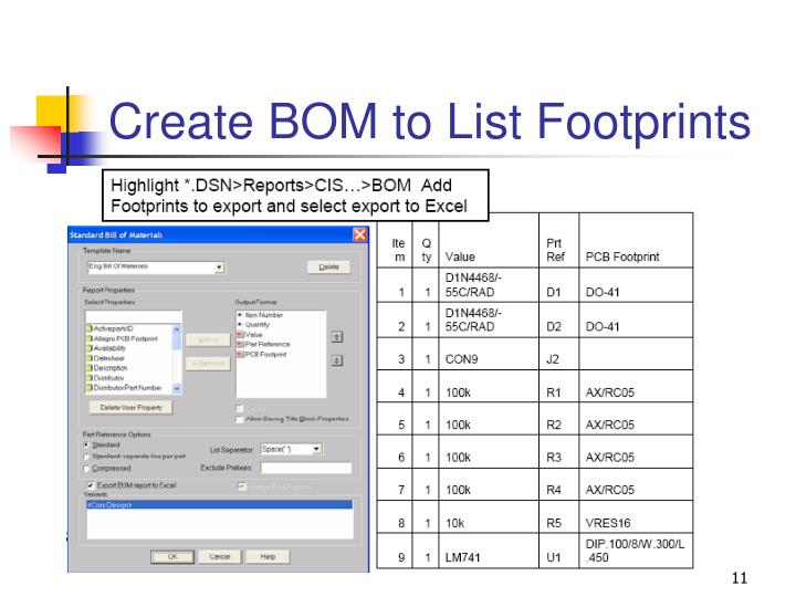 Create BOM to List Footprints