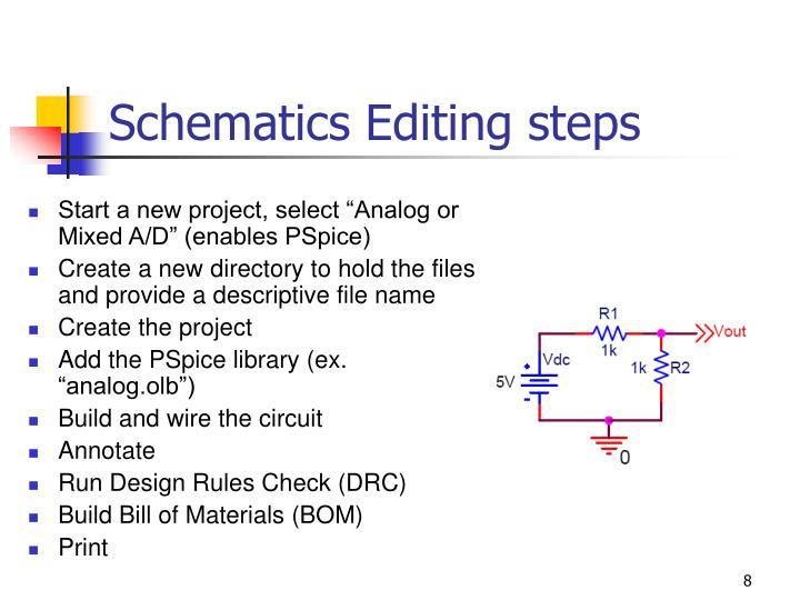 Schematics Editing steps