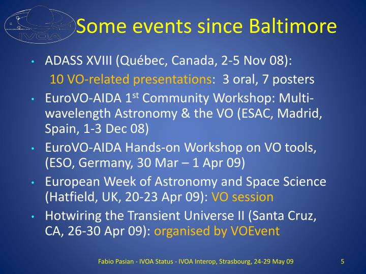 Some events since Baltimore