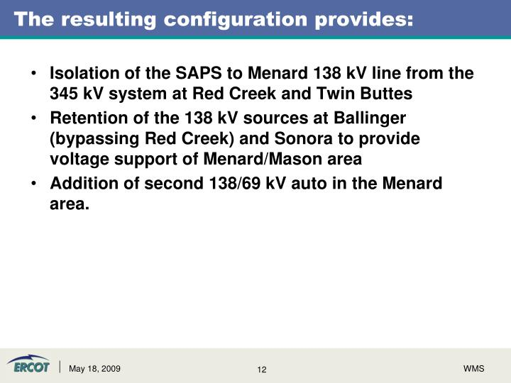 The resulting configuration provides: