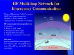 hf multi hop network for emergency communication