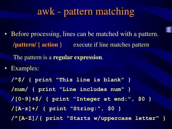 awk - pattern matching
