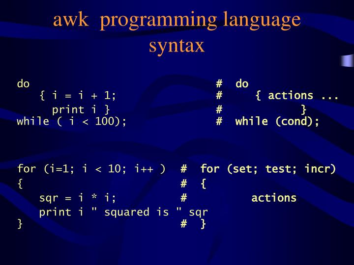awk  programming language syntax