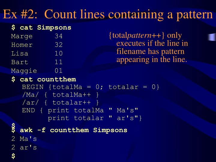 Ex #2:  Count lines containing a pattern