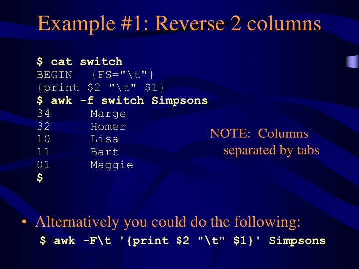 Example #1: Reverse 2 columns