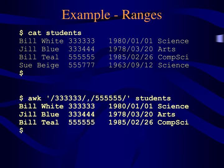 Example - Ranges