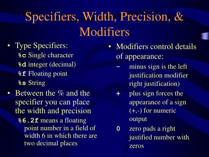 Type Specifiers: