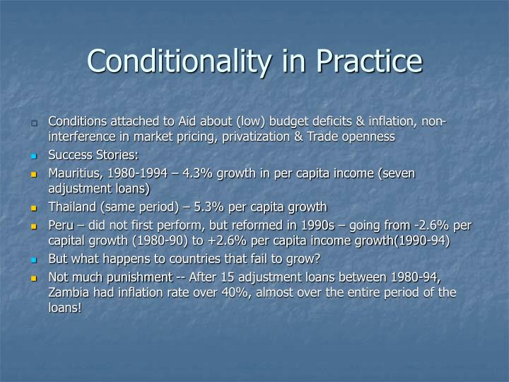 Conditionality in Practice