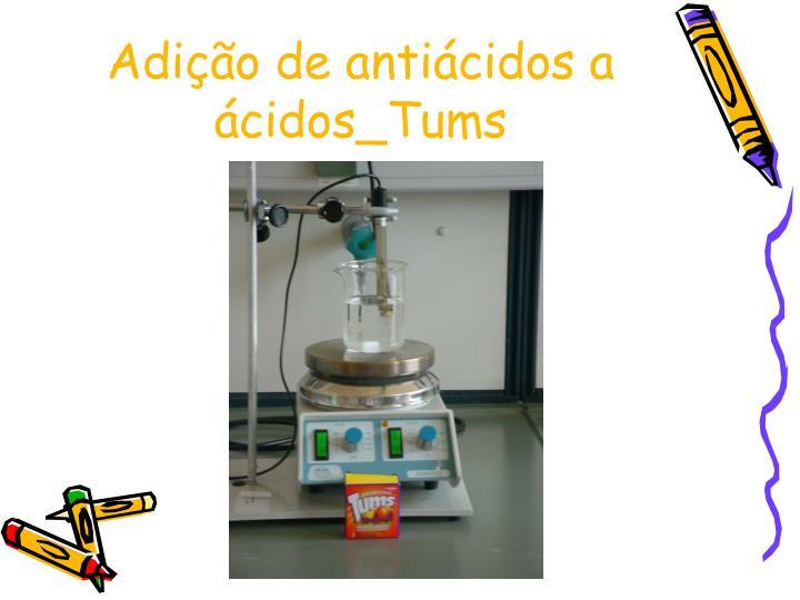 Adição de antiácidos a ácidos_Tums