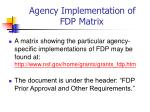 agency implementation of fdp matrix