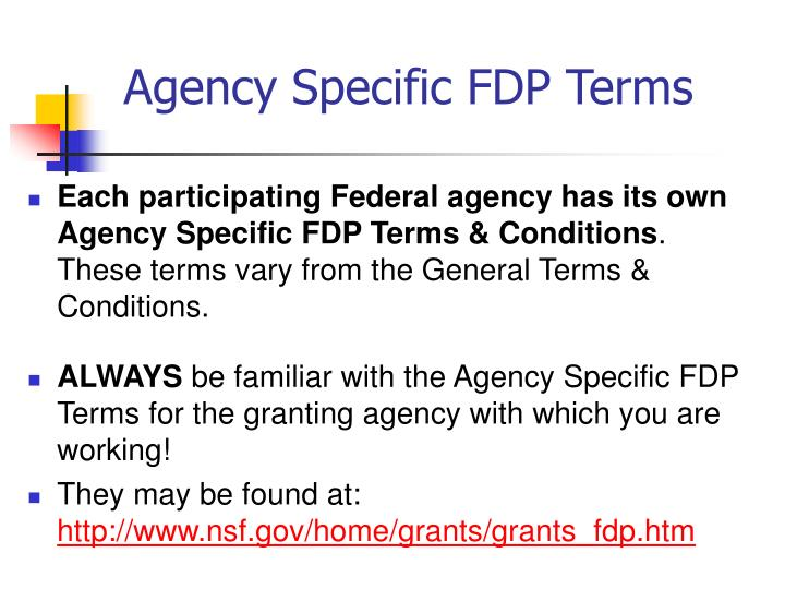 Agency Specific FDP Terms