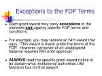 exceptions to the fdp terms