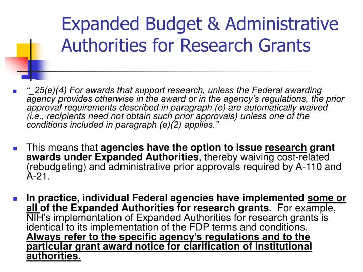 Expanded Budget & Administrative Authorities for Research Grants