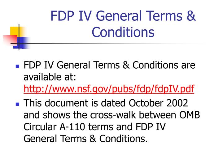 FDP IV General Terms & Conditions