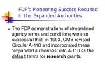 fdp s pioneering success resulted in the expanded authorities