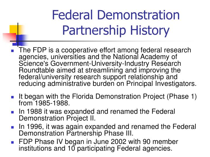 Federal demonstration partnership history