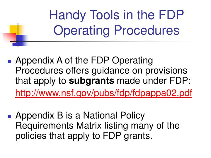Handy Tools in the FDP Operating Procedures