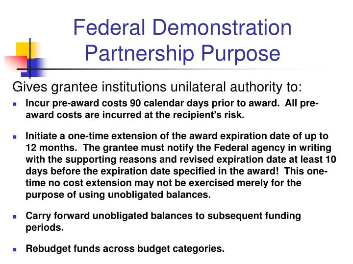 Federal Demonstration Partnership Purpose