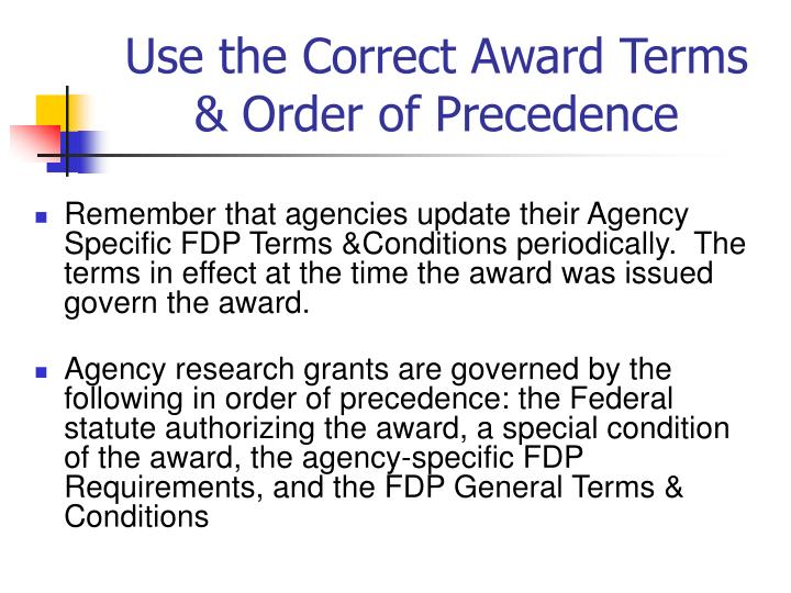 Use the Correct Award Terms & Order of Precedence