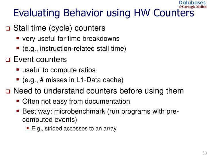 Evaluating Behavior using HW Counters