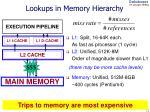 lookups in memory hierarchy