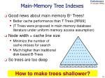 main memory tree indexes