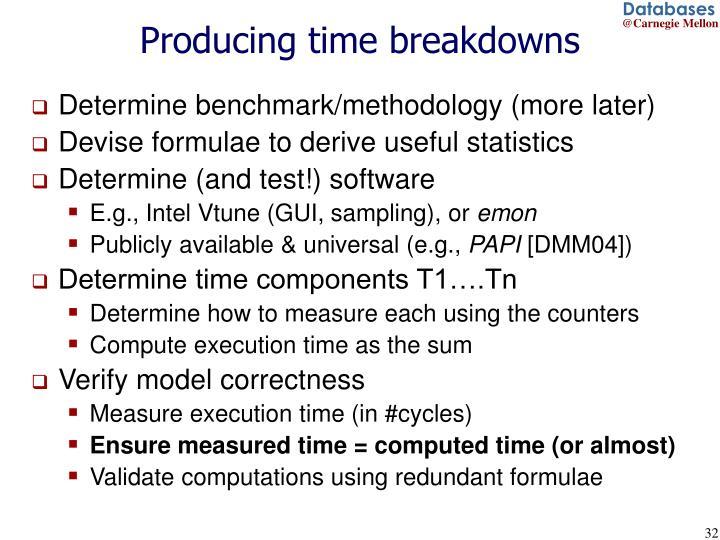 Producing time breakdowns