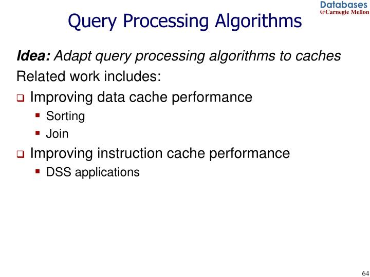 Query Processing Algorithms